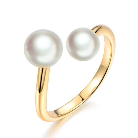 Bague perles Akoya Toi et Moi. Or jaune