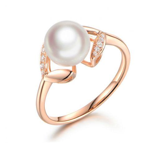 Bague pétales Or rose, diamants et perles Akoya Japon