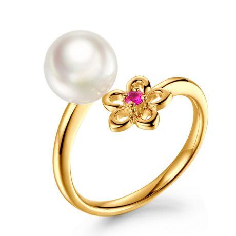 Bague fleur. Or jaune, perle Akoya et saphir rose