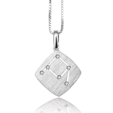 Pendentif constellation zodiacale - Signe de la balance - Or blanc