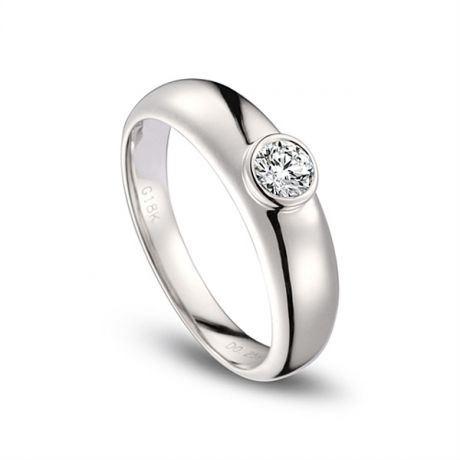 Alliance Homme. Or blanc. Diamant 0.30ct