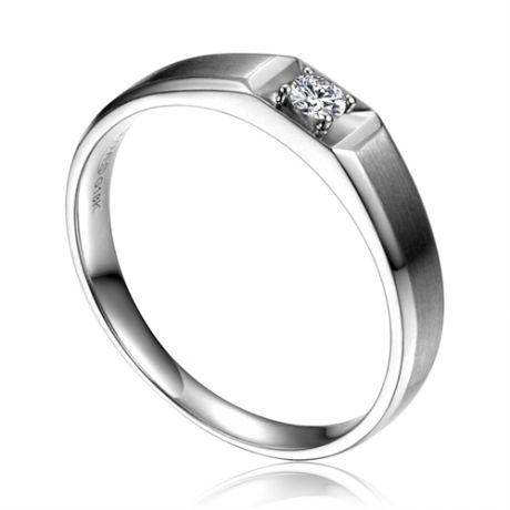 Anneau solitaire Homme - Alliance or blanc diamant serti grain