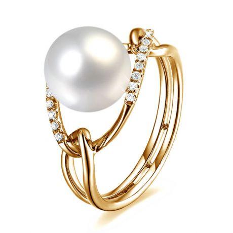 Bague or jaune perle blanche eau douce - 2 anneaux unis en diamants