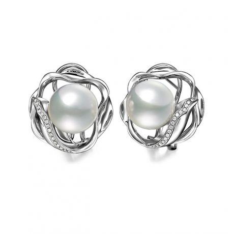 Boucles oreilles fleurs lotus - Perles Australie - Or blanc, diamants
