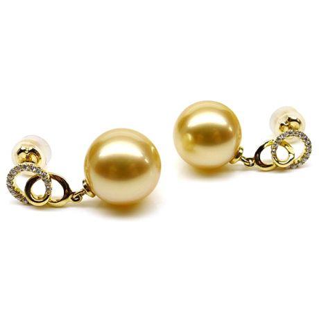 Boucles d'oreilles montures entournées - Perles Australie, or jaune, diamants
