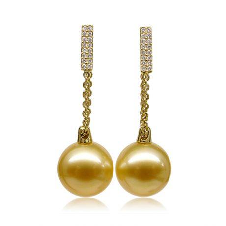 Boucles oreilles pendant Or jaune & perle Australie. Diamants