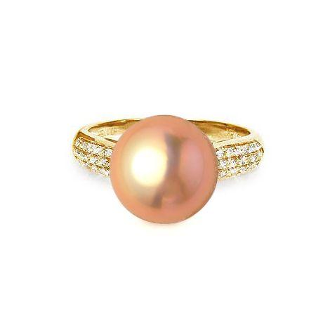Bague de perle - Perle culture eau douce rose - Or jaune, diamants