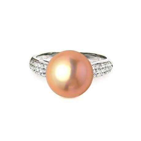 Bague de perle - Perle culture eau douce rose - Or blanc, diamants