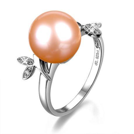 Bague en forme de feuille - Or blanc et perle rose - Diamants