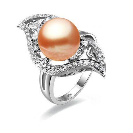 Bague feuille d'or - Perle rose - Or blanc, perle rose et diamants