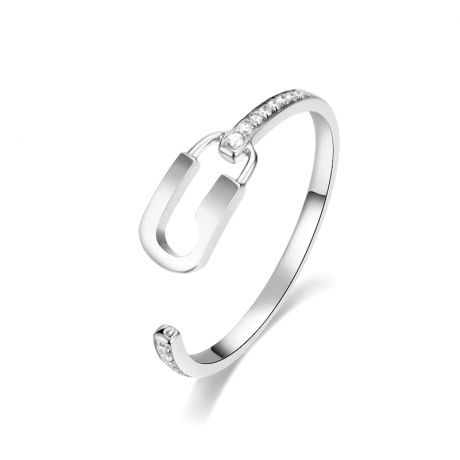Bague cadenas Or blanc 18cts. Diamants 0.070ct