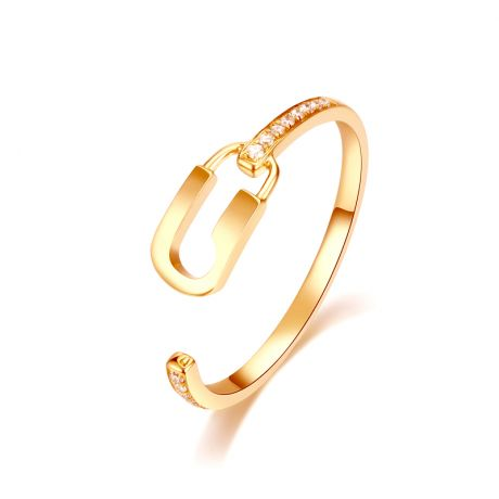 Bague cadenas Or jaune 18cts. Diamants 0.070ct