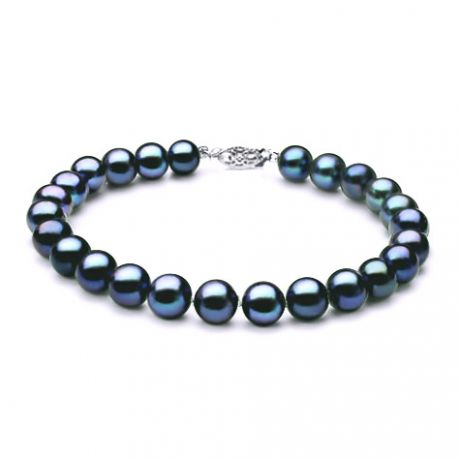 Bracelet perle noire - Noir bleu vert - Perles de culture - 7/7.5mm