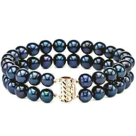 Bracelet 2 rangs de perles noires - Perle chinoise - 7/7.5mm- AAA