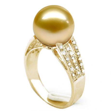 Bague Île de Barrow - Perle d'Australie dorée - Or jaune, diamants