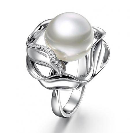 Bague fleur de lotus - Perle d'Australie blanche - Or blanc, diamants
