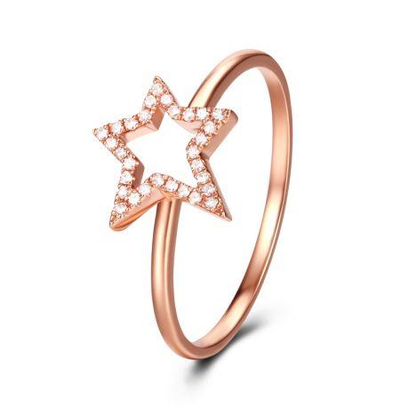 Bague Étoile Or rose 18cts. 30 diamants 0.060ct