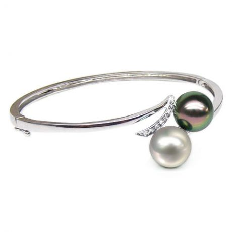 Bracelet or blanc, diamants et perles des mers du sud multicolores