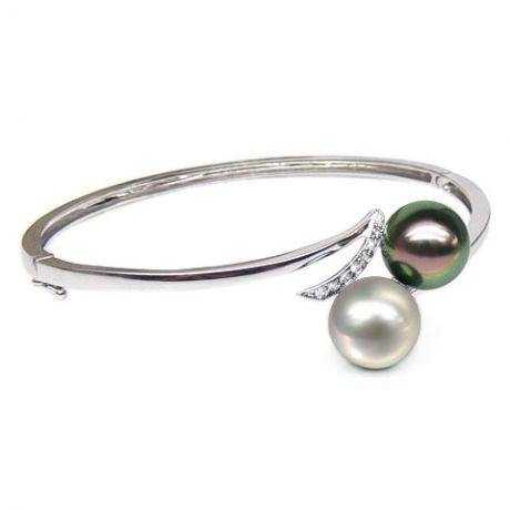 Bracelet or blanc, diamants et perles des mers du sud multicolores