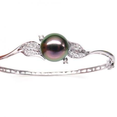 Bracelet jonc - Perle de Tahiti - Pavage feuilles - Or blanc, diamants