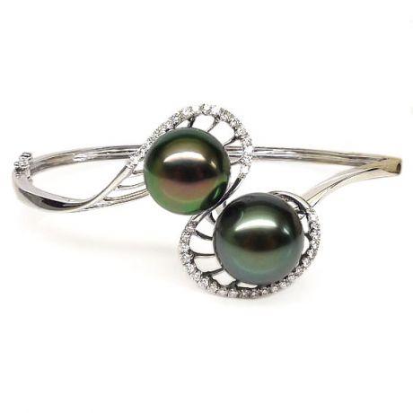 Bracelet perles de Tahiti sur jonc or blanc et diamants