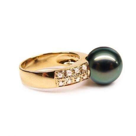 Bague Elbow - Perle de Tahiti - Or jaune, diamants