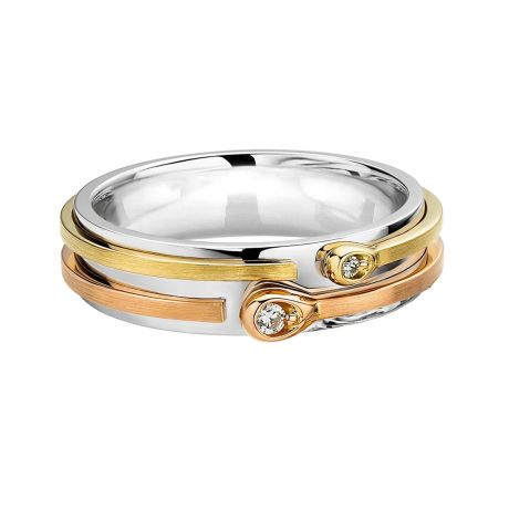 Alliance Homme 3 ors - Diamants - Allumettes diamantées