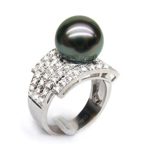Bague style opulent - Perle Tahiti noire, bronze - Or blanc, diamants