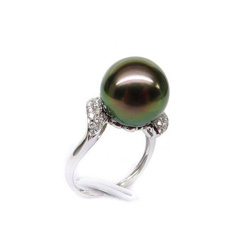 Bague solitaire standing avec sa perle de Tahiti - Or blanc, diamants