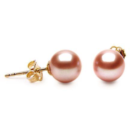 Clous oreille or jaune - Boucles perles d'eau douce roses - 8/9mm