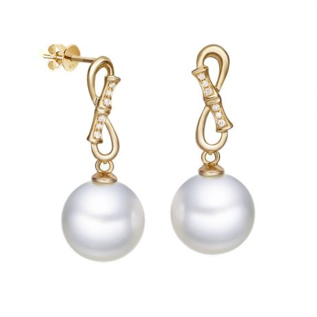 Boucles d'oreilles pendantes Bamboo - Or jaune, diamants et perles