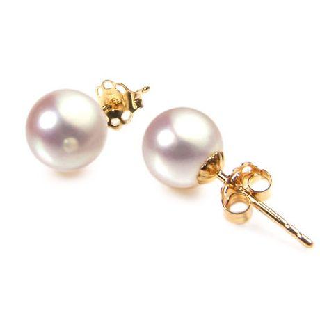 Boucles d'oreilles - Clous or jaune - Perles de culture Akoya - 7/7.5mm