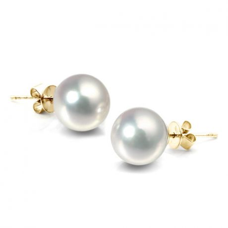 Boucles d'oreilles perles Akoya blanches - 8/8.5mm - AAA - Or jaune
