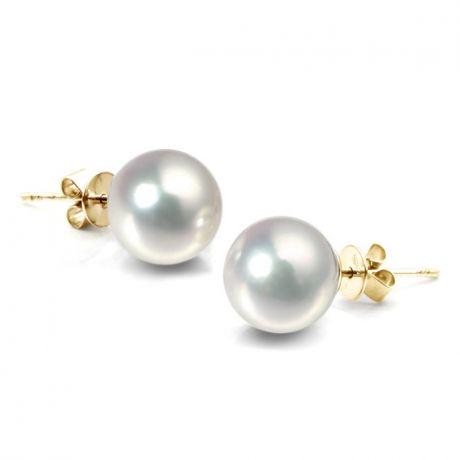 Boucles d'oreilles perles Akoya blanches - 8/8.5mm - GEMME - Or jaune