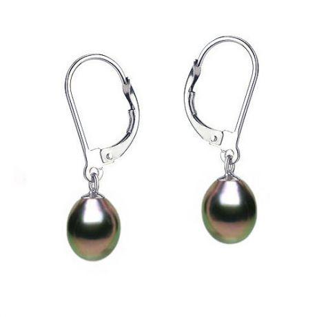 Boucles oreilles or blanc - Perles noires - Dormeuses eau douce 8/9mm