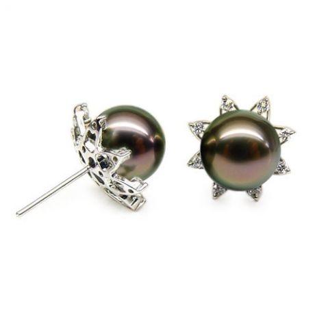 Boucles d'oreilles étoiles - Clous perles de Tahiti - Or blanc, diamants