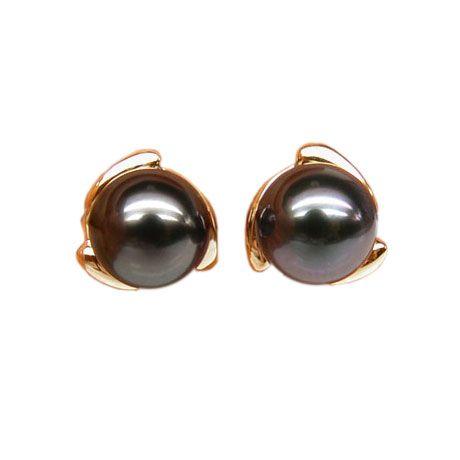 Boucles d'oreilles pétales d'or jaune 750/1000 - Perles de Tahiti