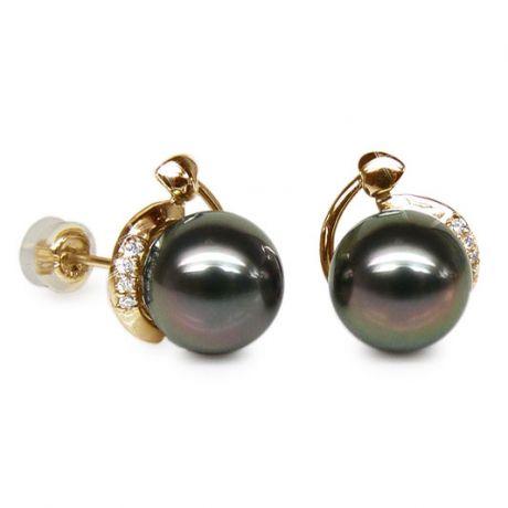 Boucles oreilles couronnes or jaune - Perles de Tahiti, diamants sertis