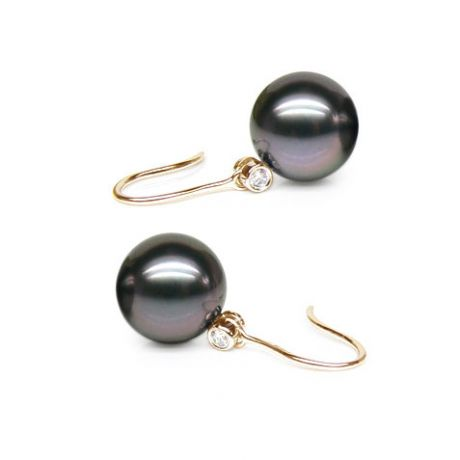 Boucles oreilles crochets - Perles de Tahit - Or jaune, diamant