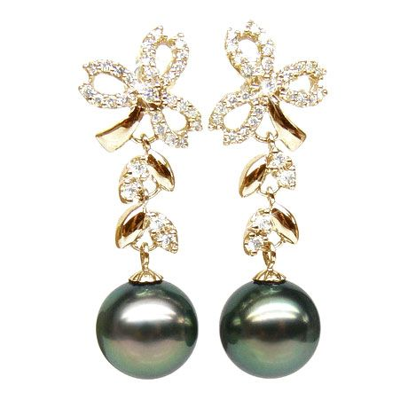 Boucles oreilles or jaune - Perles de Tahiti - Diamants - Composition florale
