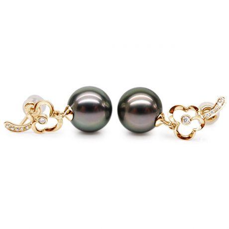 Boucles oreilles fleurs - Pendants perles de Tahiti - Or jaune, diamants
