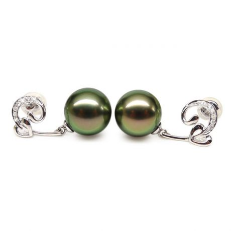 Boucles oreilles coeur - Pendants or blanc - Perles de Tahiti - Diamants