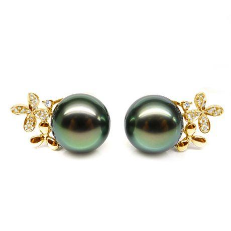 Boucles oreilles perles Tahiti motifs floraux - Or jaune, diamants