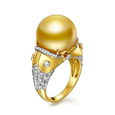 Bague poisson - Perle d'Australie dorée - Kingdom of Animals