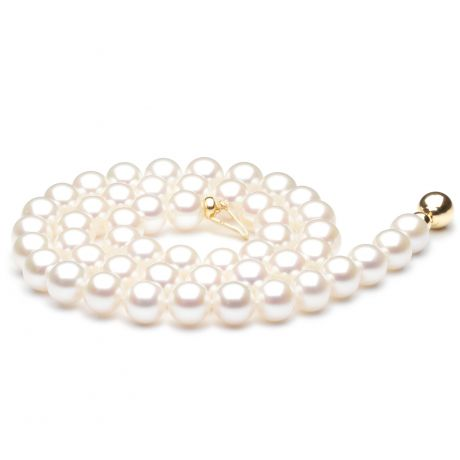 Collier perles mariage - Collier perles de Chine blanches - 7.5/8mm