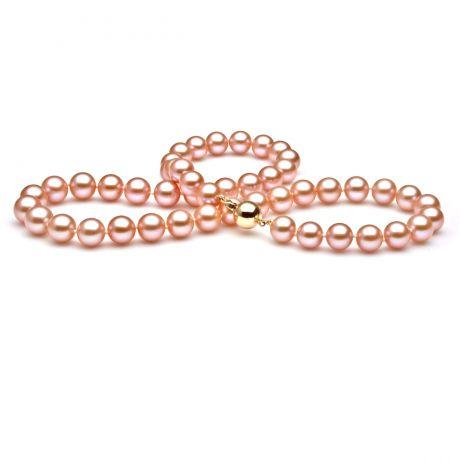 Perle de culture rose - Collier perles eau douce roses - 7.5/8mm