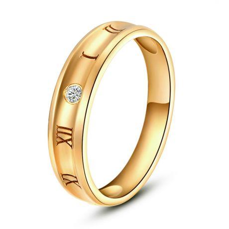 Chiffre romain - Bague homme chiffre romain. Or jaune, diamant