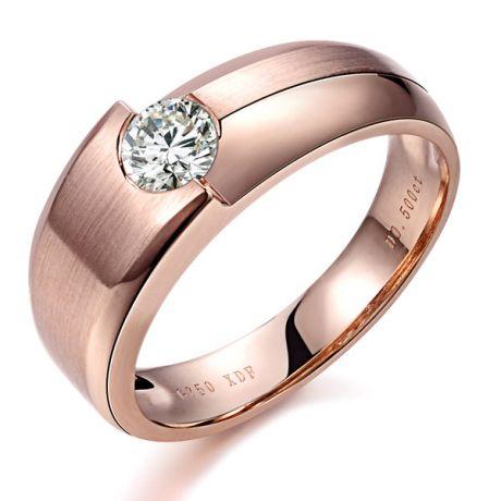 Bague homme duo d'or rose serti d'un diamant de 0.50ct