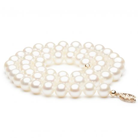 Collier de perle blanche - Perle de culture Chine - 7/7.5mm
