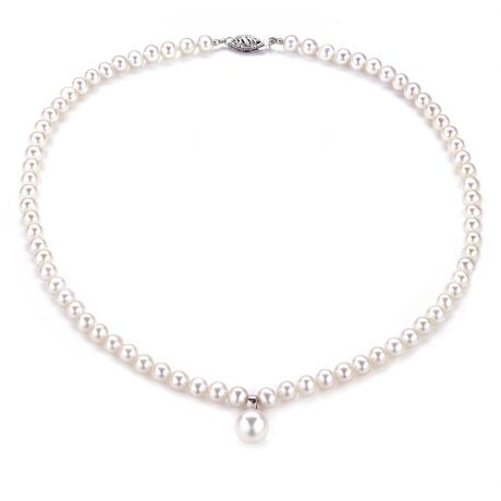 Collier de perles blanches - Perles de culture d'eau douce - 5/9mm